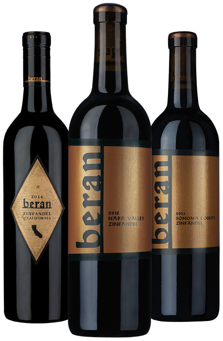 Beran wines family shot featuring California Zinfandel, Sonoma County Zinfandel, Napa Valley Zinfandel